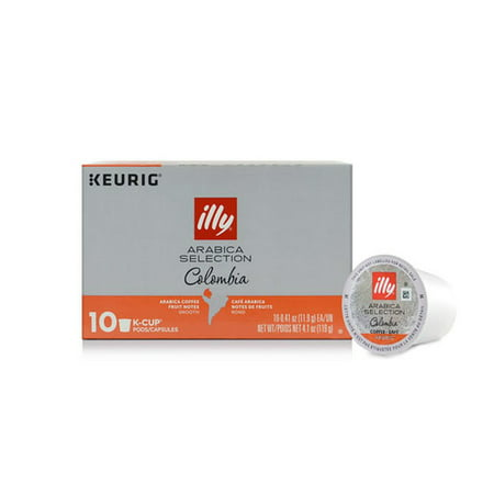 100% Arabica Coffee Pods (illy Arabica Selection K-Cup Coffee Pods, Colombia for Keurig® Brewers, 10)