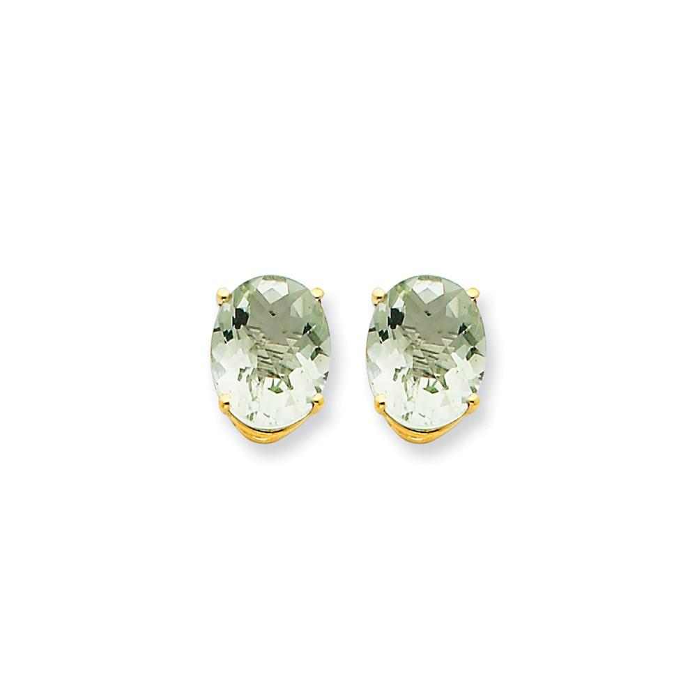 14k Yellow Gold 10x8 Oval Green Amethyst Earrings. Gem Wt- 4.9ct (0.4IN x 0.3IN )