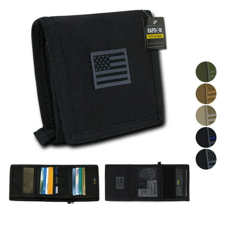 RAPDOM Men's Tri-Fold Wallet Tactical Non Stick ID Window 18 Compartment USA Flag, Thin Blue