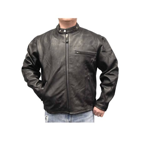 Redline Men's Quality Naked Cowhide Zip Front Leather Jacket, Black M-20