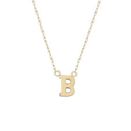 14K Yellow Gold Classic Alphabet Initial Pendant Necklace, A-Z British Classic Jewelry