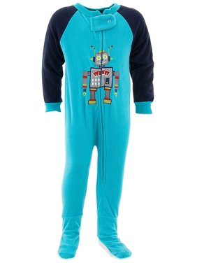 Mon Petit Boys Robot Blue Footed Pajamas