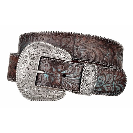 - Western Scroll Buckle with Turquoise Tinted Embossed Brown Leather Belt