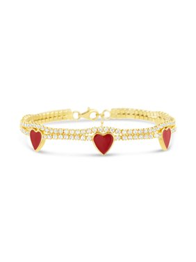 Lesa Michele Womens Cubic Zirconia and Enamel Heart Station Double Strand Bracelet
