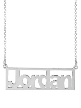"""Personalized Sterling Silver, Gold Plated, 10k or 14k Rectangle Bar Name Necklace, 18"""" Chain"""