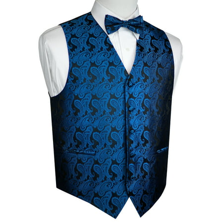 Men's Formal, Prom, Wedding, Tuxedo Vest, Bow-Tie & Hankie Set in Royal Blue