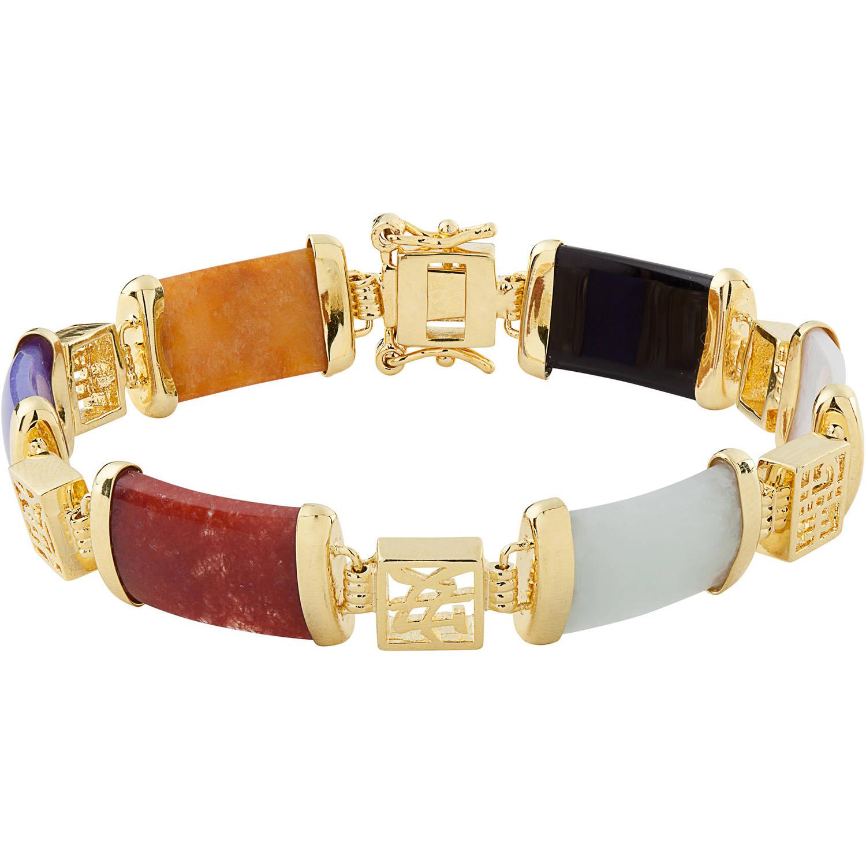 "Jade 14kt Gold-Plated Good Fortune Bracelet, 7"", with Jade Stud Earrings"