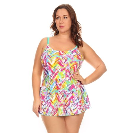 Womans Plus Size Mint Plaid One Piece Swimdress   Made In Usa