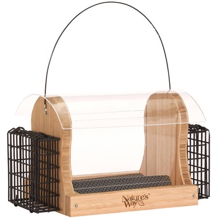Way Hopper - Nature's Way BWF16 4 qt Bamboo Hopper Feed with 2 Suet Cages