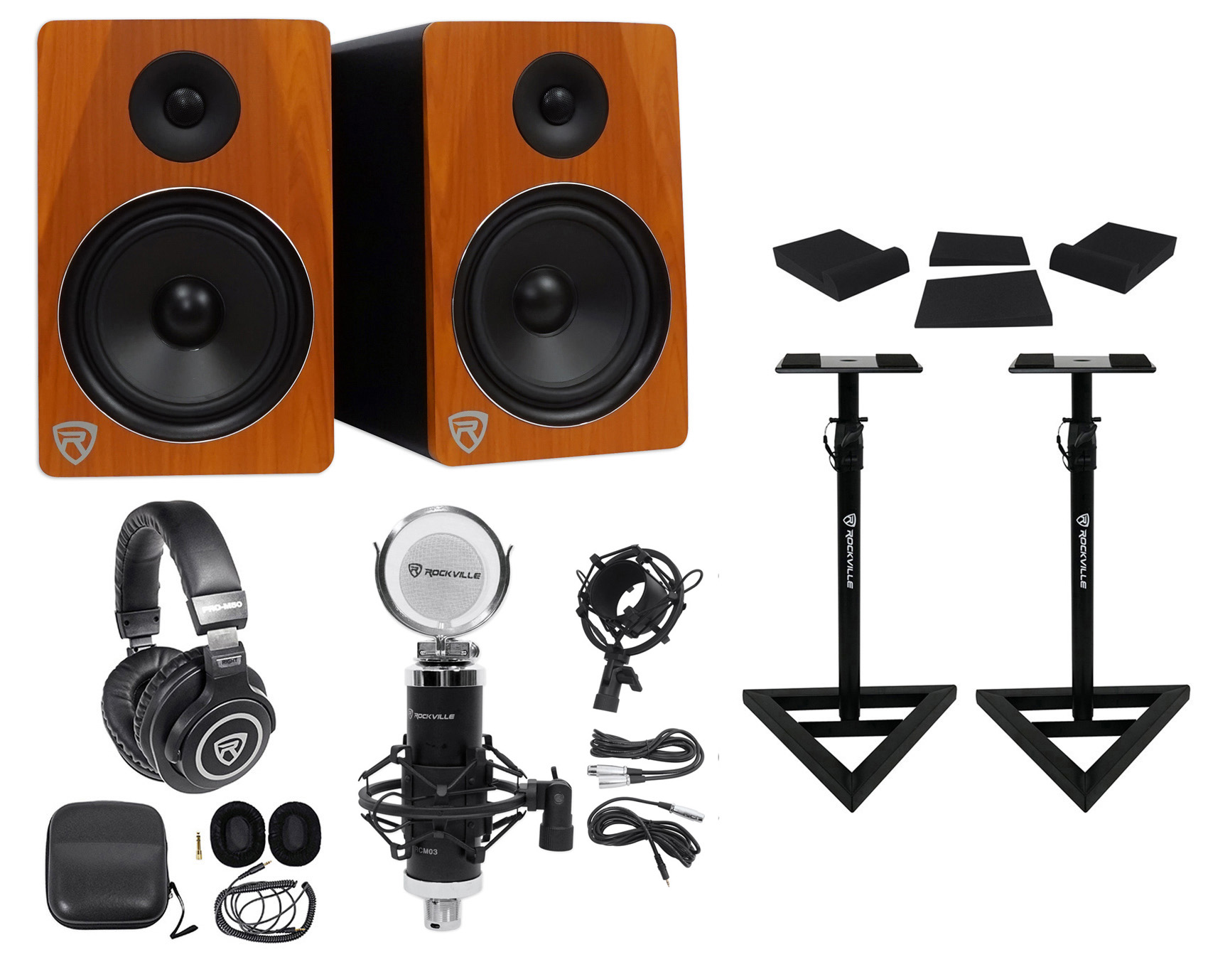 "2) Rockville APM8C 8"" 500w Powered Studio Monitors+Stands+Pads+Headphones+Mic by ROCKVILLE"