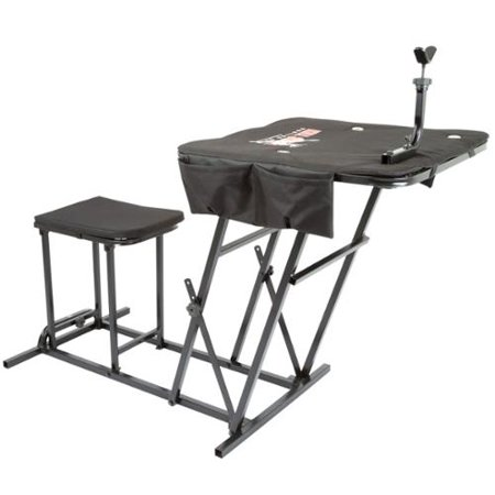 Kill Shot Portable Shooting Bench Seat with Adjustable Table Gun Rest