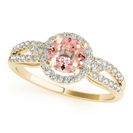 1.15 Ct Diamond - 1.15 Ct. Halo Morganite And Diamond Engagement Ring In 14k Yellow Gold