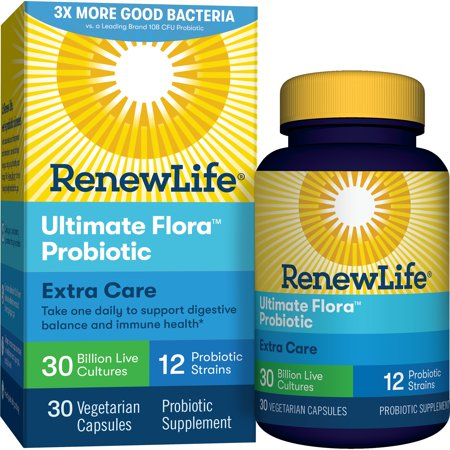 (2 Pack) Renew Life - Ultimate Flora Probiotic Extra Care - 30 billion - 30 vegetable capsules (Highest Rated Probiotics)
