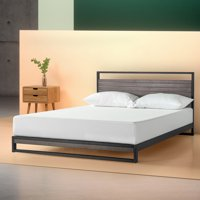 "Zinus Suzanne 14"" Metal and Wood Platform Bed with Headboard, Cherry, Queen"