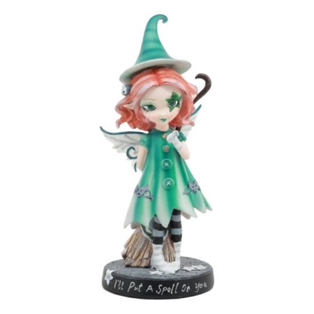Ebros Spellbound Dolly Fae Witching Hour Green Star Fairy Flying Broomstick Figurine Selina Fenech Art Fantasy Collectible Decor Sculpture