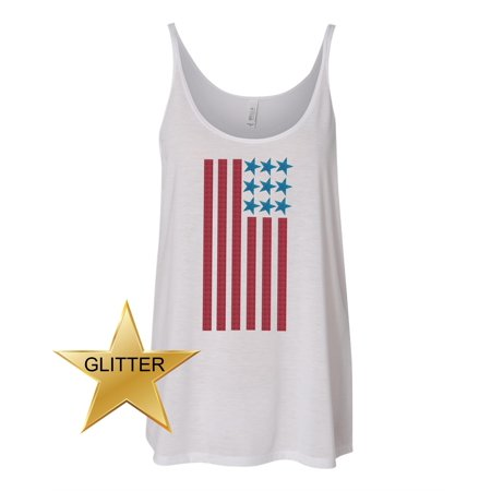 American Flag Glitter 4th of July Patriotic Glitter Women Slouchy Tank Top - Gypsy Blue Apparel