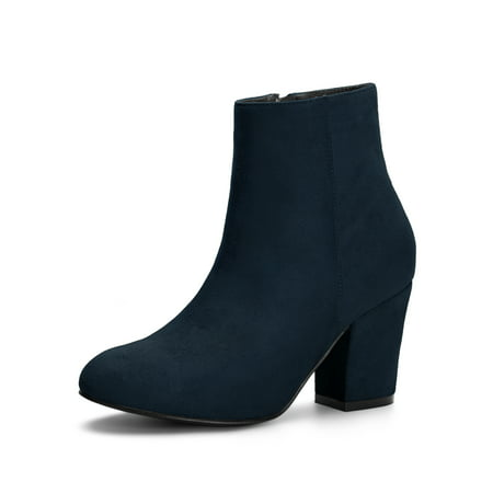 Women's Side Zipper Block Heel Ankle Boots Navy Blue (Size 8) Ankle Boots Side Zipper