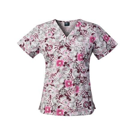 Medgear Womens Fashion Scrubs Top, Printed V-neck with 4-Pockets (14 Inch Scrub)