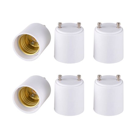Standard Base Socket - 6-pack GU24 to E26 E27 Adapter Converts Pin Base Fixture to Standard Bulb Screw-in Socket, Heat Resistant Fire Resistant Fireproof