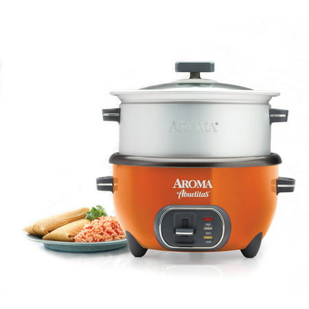 aroma 20 cup cooked spanish rice cooker with xl steamer orange. Black Bedroom Furniture Sets. Home Design Ideas