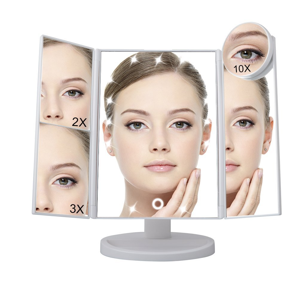Lighted Makeup Mirror,EECOO 21 Led Lights Trifold Vanity Mirror with Touch Screen,1X 2X 3X Magnification and 180 Degree Adjustable Stand Travel Mirror,10X Cosmetic Spot Mirror as FREE GIFT