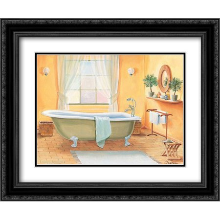 Bathroom in yellow I 2x Matted 24x20 Black Ornate Framed Art Print by - Yellow Wood Jasper