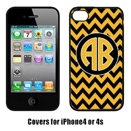 Carolines Treasures CJ1053-CUSTOM-IP4 Chevron Black And Gold For University Of Missouri Cell Phone Cover Iphone 4