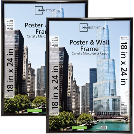 Mainstays 18x24 Trendsetter Poster & Picture Frame, Black, Set of 2 - Frames In Bulk