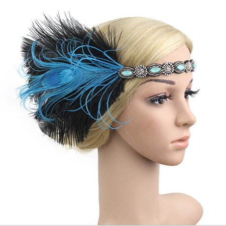 Retro 1920s Headpiece Feather 20's Bridal Great Gatsby Flapper Hair Hoop Headband - Gatsby Themed Prom Hair