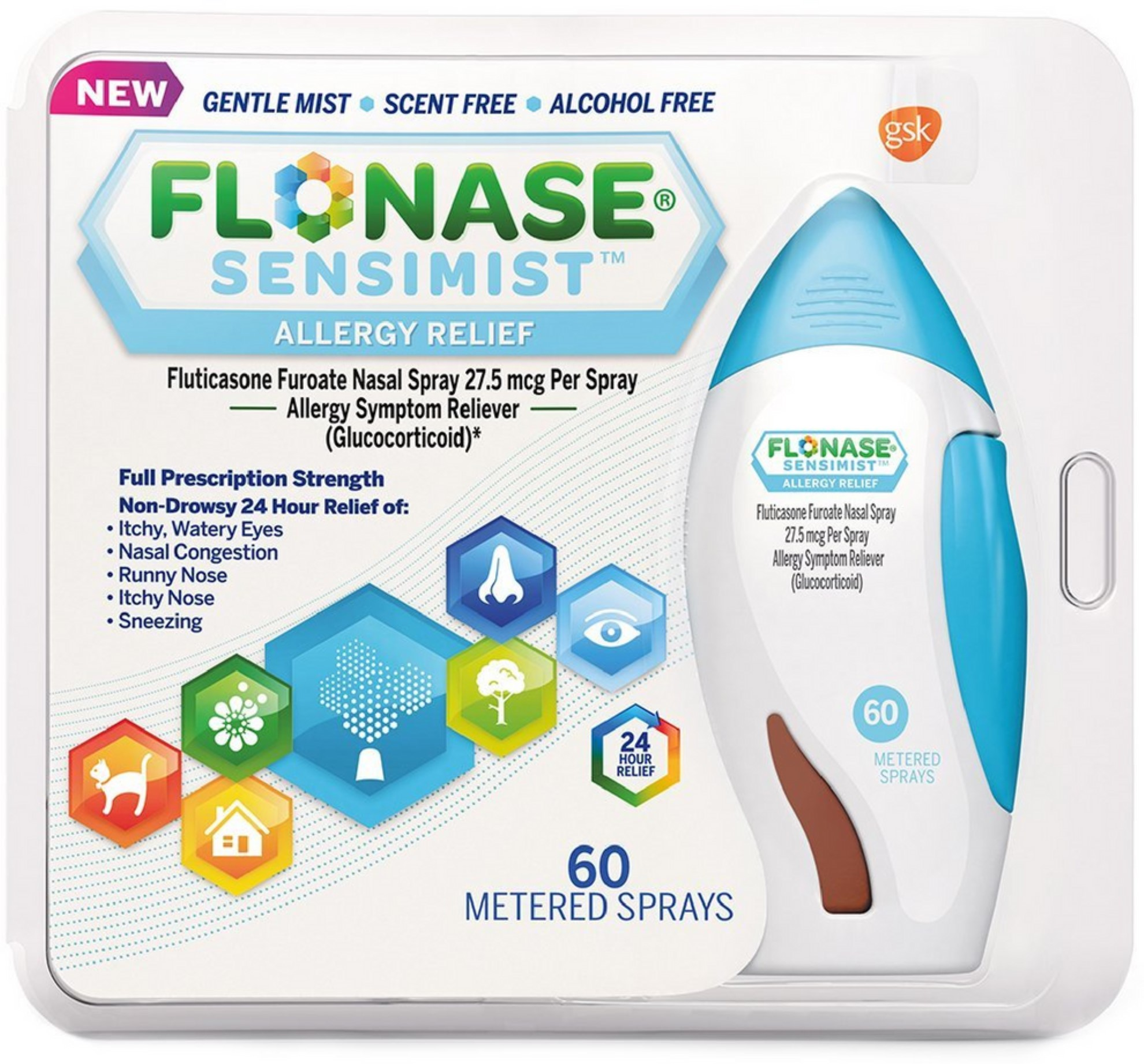 2 Pack - Flonase Sensimist Allergy Relief Spray, 60 Metered Sprays 1 ea