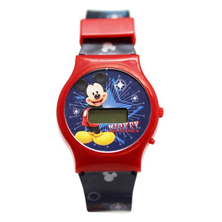 Mickey Mouse Wrist Watch - Disney's Mickey Mouse Red Dial/Blue Band Kids Digital Screen Watch