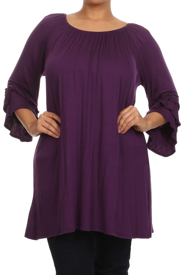 Women's PLUS trendy style  3/4 sleeve solid knit tunic top.