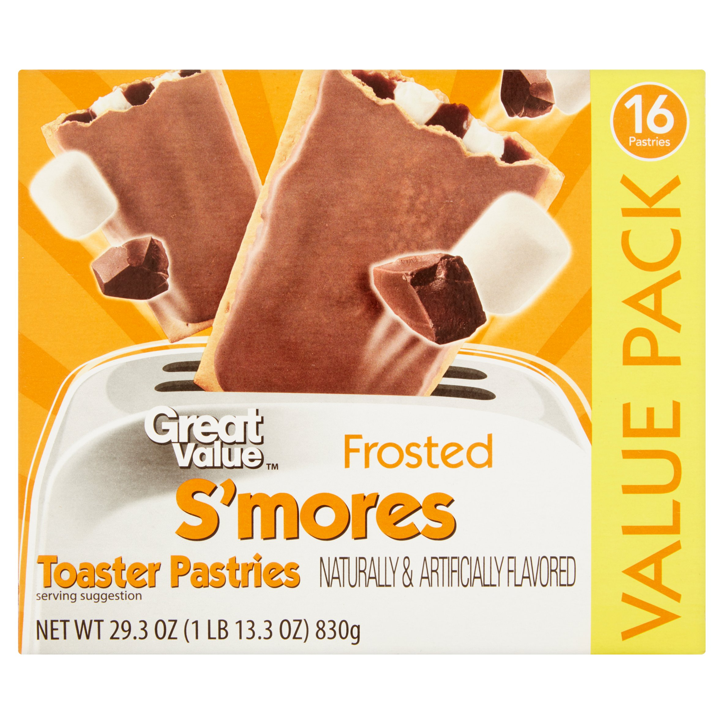 Great Value Frosted S'mores Toaster Pastries, 16 ct, 29.3 oz by Wal-Mart Stores, Inc.