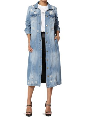 TheMogan Junior's Distressed Long Denim Jacket Knee Length Jean Trench Coat