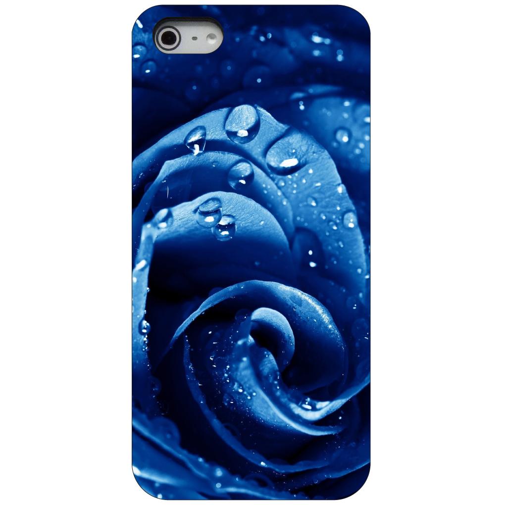 CUSTOM Black Hard Plastic Snap-On Case for Apple iPhone 5 / 5S / SE - Blue Dew Covered Rose