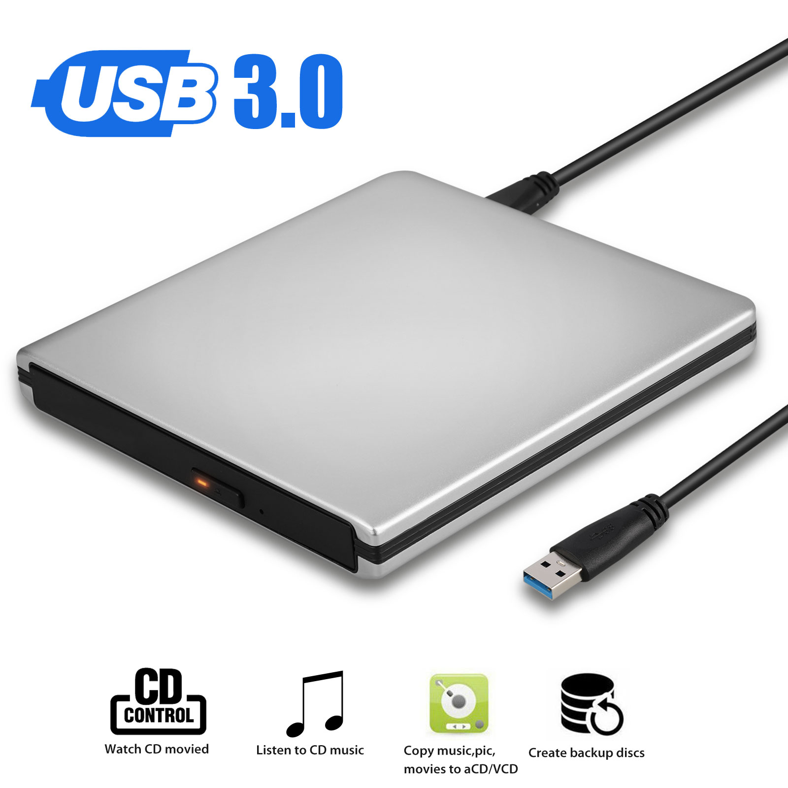 External CD/DVD Drive,USB 3.0 DVD +/-RW Superdrive CD Burner with High Speed Data Transfer Compatible for MacBook Laptop Desktop PC Windows10 /8/7 /XP Linux Mac OS