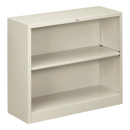 - HON Metal Bookcase, Two-Shelf, 34-1/2w x 12-5/8d x 29h, Light Gray