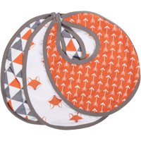 Bacati Playful Fox Orange/Grey Bibs 3 pc Set