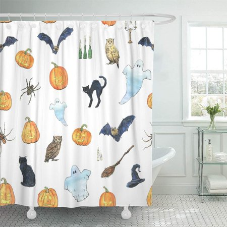 PKNMT Watercolor Halloween with Ghost Bat Black Cat Owl Spider Witch Hat Broom Besom Waterproof Bathroom Shower Curtains Set 66x72 inch - Witch Hat And Broom