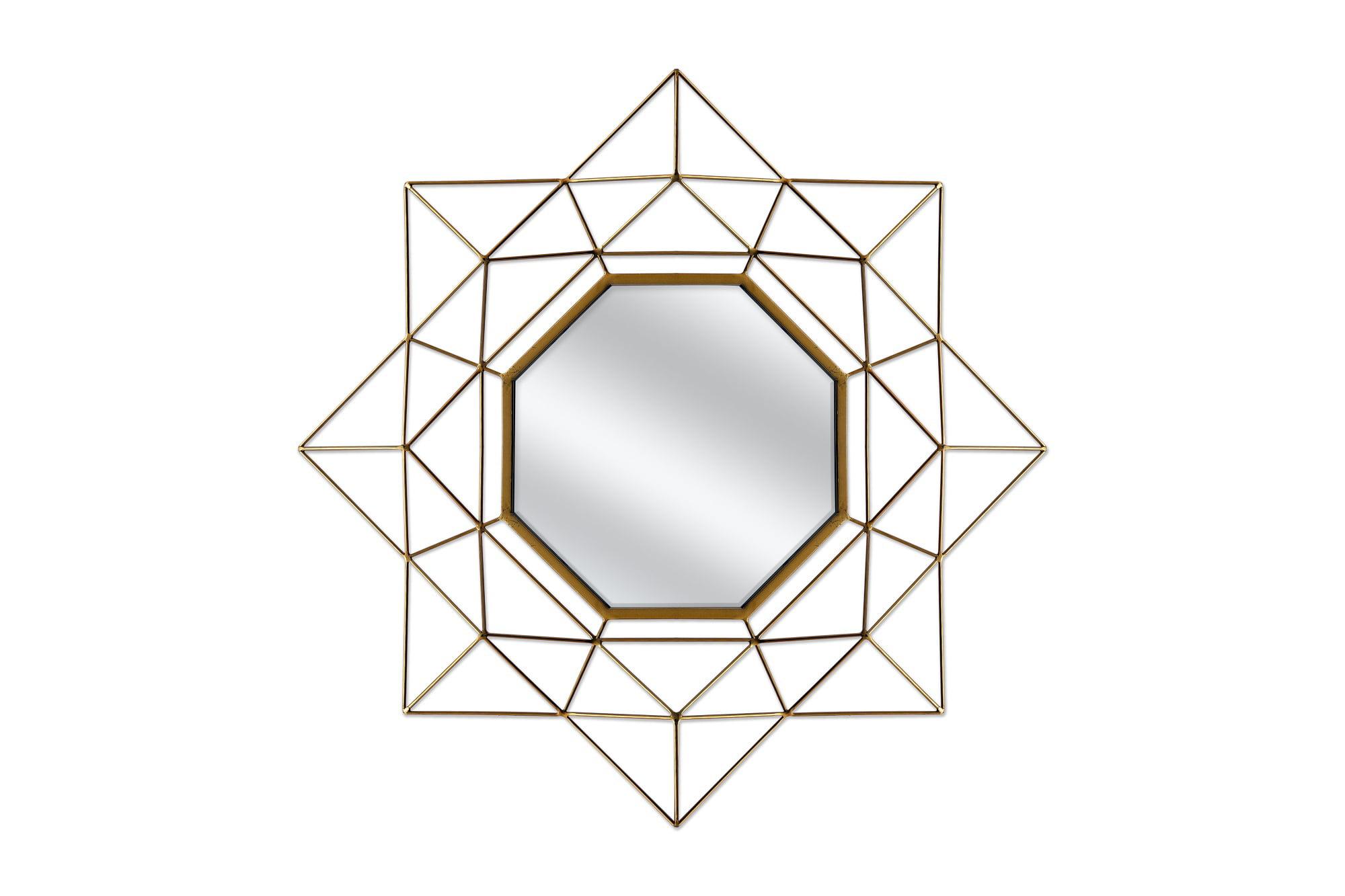 Gold Metal Wall Mirror: Geo 28in Gold Metal Wall Mirror