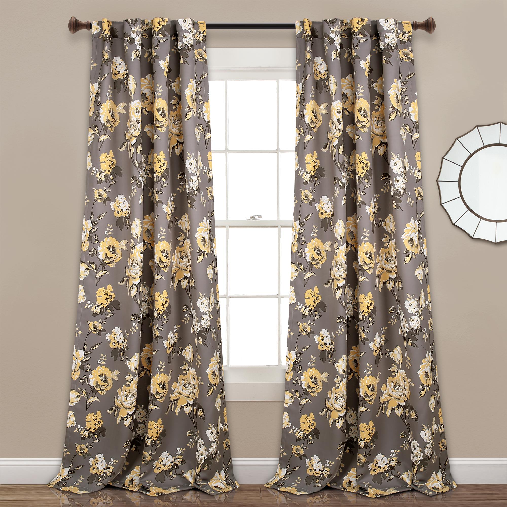 Tania Floral Room Darkening Window Curtain Panels