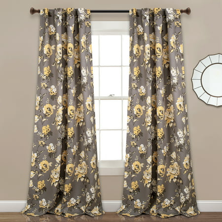 Tania Floral Room Darkening Window Curtain Panels
