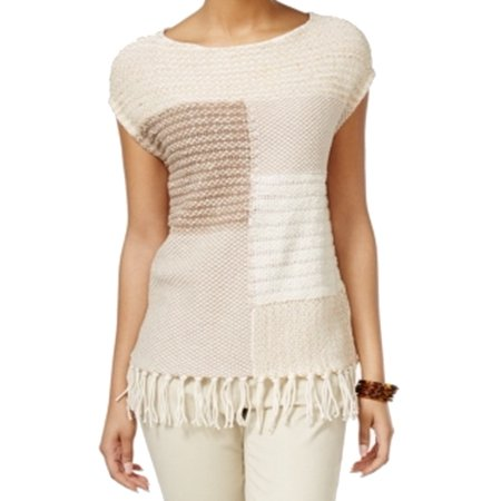 American Living NEW Beige Womens Size Medium M Fringe Scoop Neck Sweater