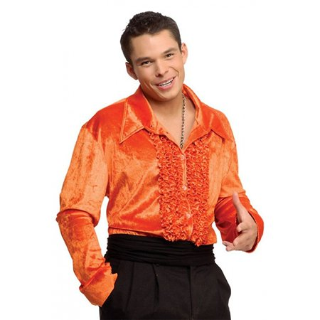 Velvet Disco Shirt Adult Costume Orange - Medium - Mens Disco Shirt