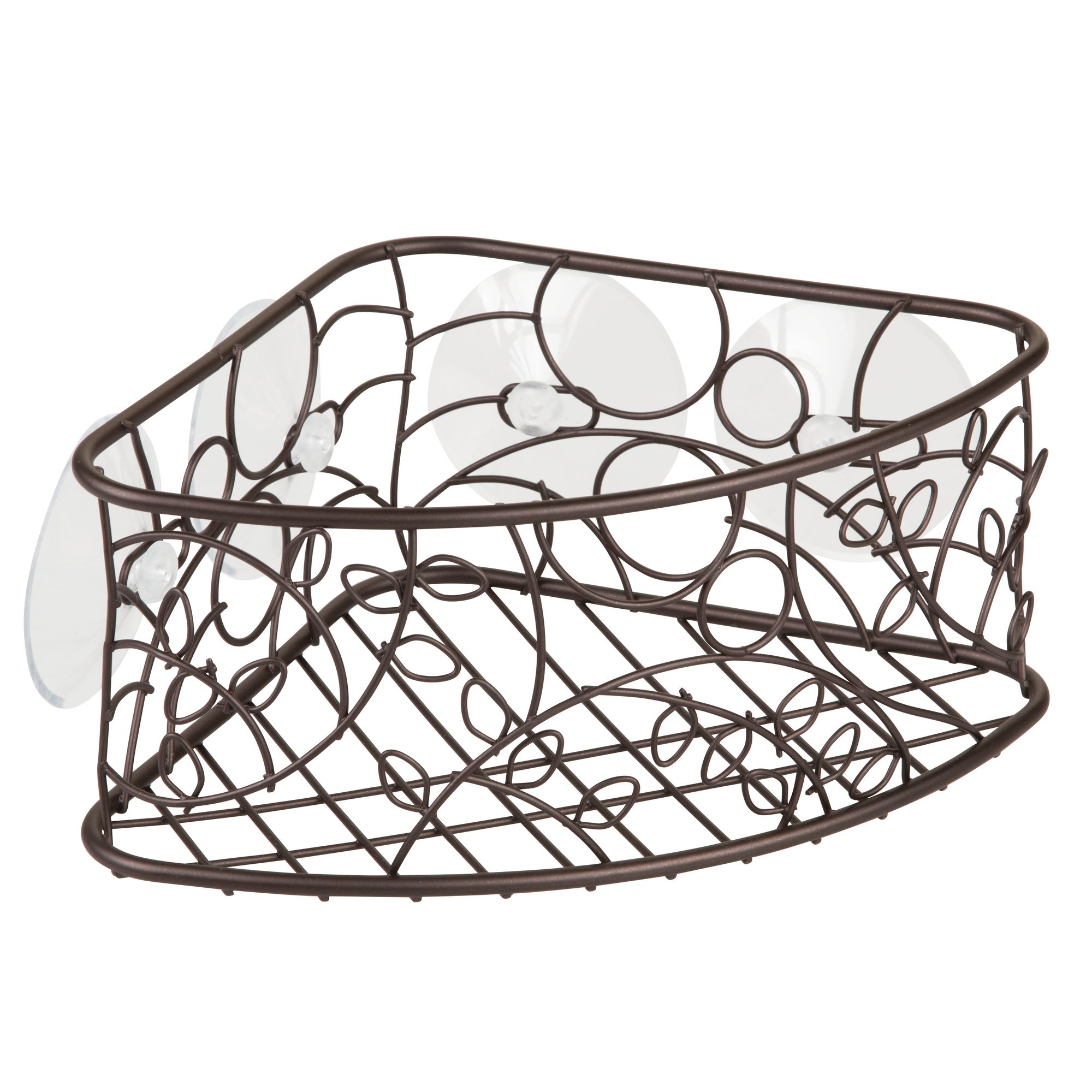 InterDesign Twigz Suction Corner Basket, Bronze