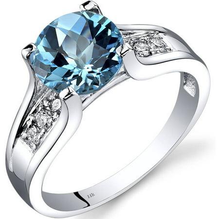 2.25 Carat T.G.W. Swiss Blue Topaz and Diamond Accent 14kt White Gold (Diamond Open Ring Swiss)