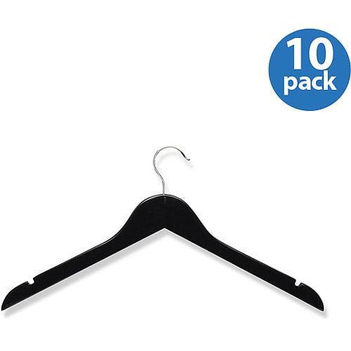 Honey-Can-Do Wood Shirt Hanger, Ebony, 10-Pack