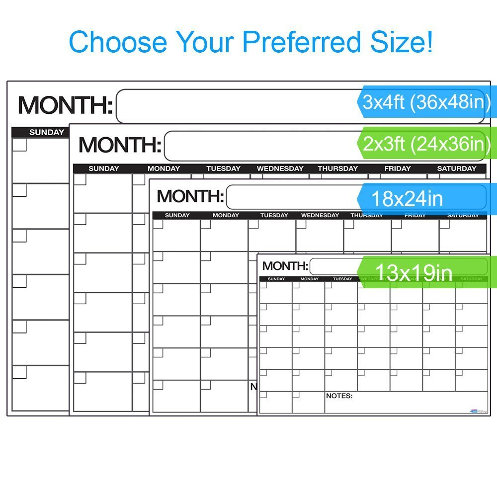 706403db1f2 Large Dry or Wet Erase Laminated Monthly Wall Calendar Planner - Walmart.com