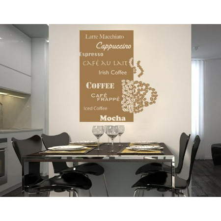 Coffee Deluxe Wall Decal Sticker Vinyl Art Home Decor Mural 1952 Pastel Orange 24in X 28in