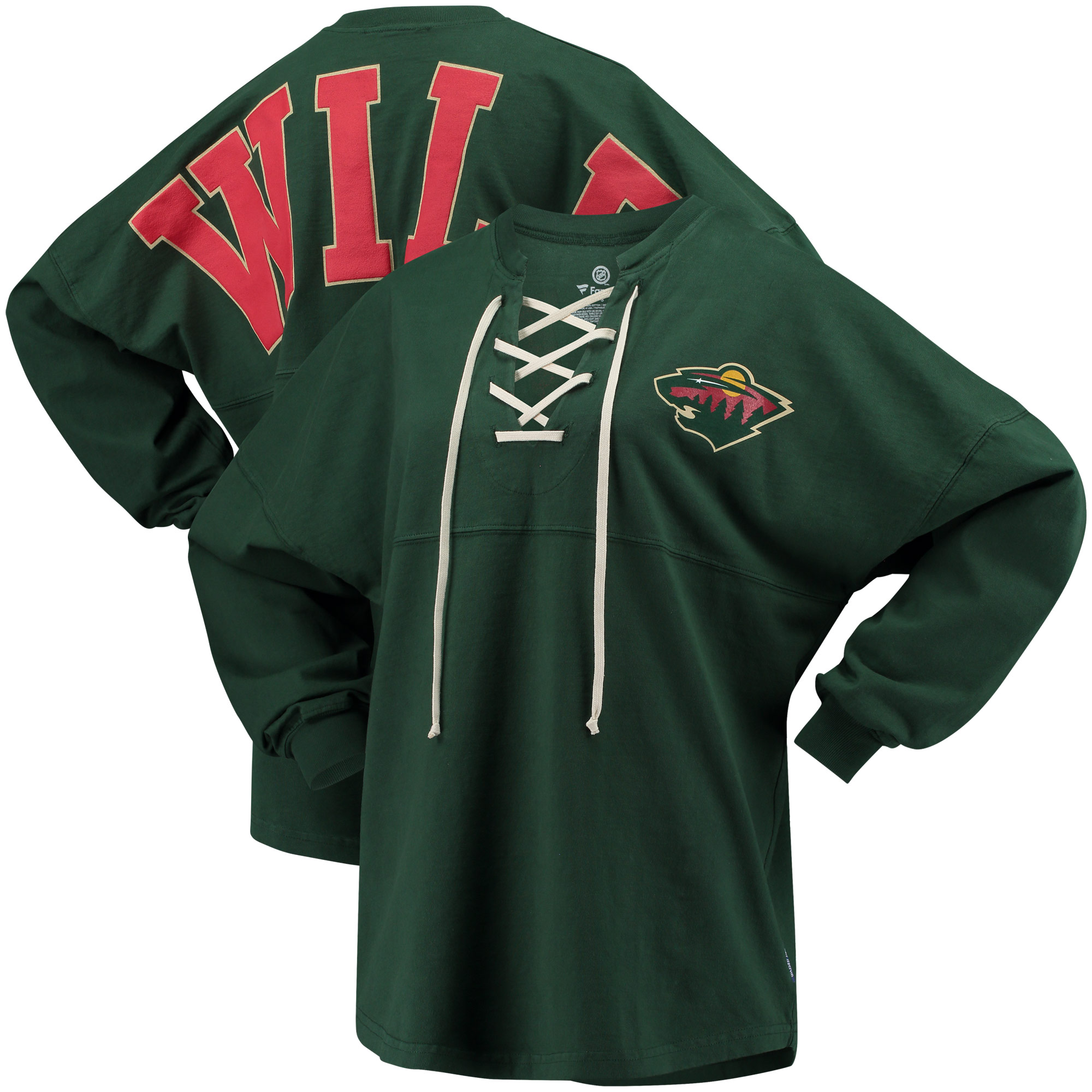 Minnesota Wild Fanatics Branded Women's Lace Up Long Sleeve Spirit T-Shirt Hunter Green by BoxSeat Clothing - SOURCED